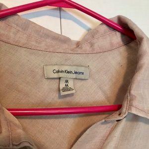 Lovely sheer pink Calvin Klein button up blouse